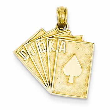 14k Yellow Gold Solid Satin Royal Flush Pendant