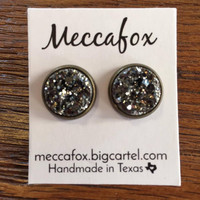 Mecca Fox Earrings- 12MM Charcoal Druzy in Bronze Setting
