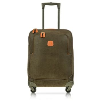 Bric's Designer Travel Bags Life Olive Green Micro Suede Small Trolley