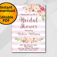 Editable Bridal Shower Invitation, Watercolor Pink stripe, Instant Download diy etsy Bridal Shower invitation XB302fs-4