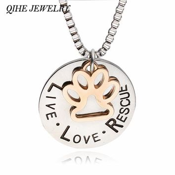 "QIHE JEWELRY ""LIVE LOVE RESCUE"" Dog Paw Claw Print Tag Silver Pendant Necklace Pet Keepsake Animal Jewelry Delicate Jewelry"