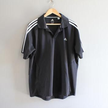 US Free Shipping Adidas Polo Shirt Black 3 Stripes Golf Activewear Loose Fit Vintage 9