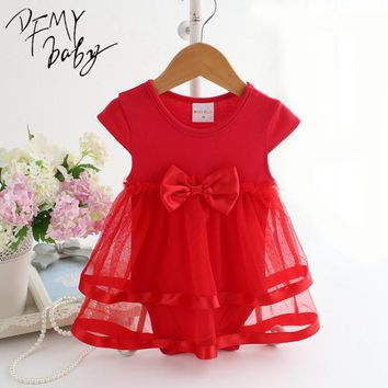 NewBorn Baby Dress Summer Cotton Bow Baby Rompers For girls Summer Kids Infant Clothes Baby Girls Jumpsuit