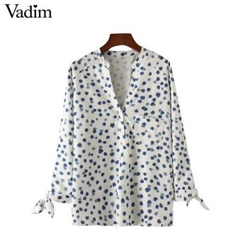 Women V neck floral shirts sweet bow tie pocket long sleeve blouses elegant ladies casual tops