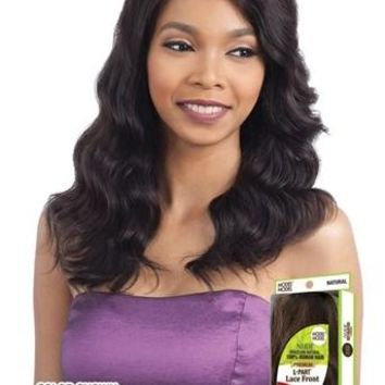 100% BRAZILIAN HUMAN HAIR LACE FRONT WIG - L PART - NATURAL LOOSE WAVE