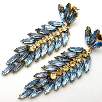 Runway Earrings, Blue Topaz, Citrine Rhinestone, Long Dangle, Drop Earrings, Wedding Jewelry, Vintage Jewellery