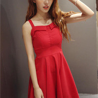 Red Skater Dress with Tie Back
