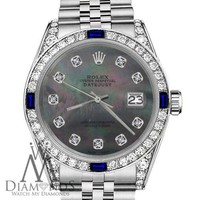 Rolex 36mm Datejust Black MOP Dial with Sapphire & Diamond Bezel Unisex Watch
