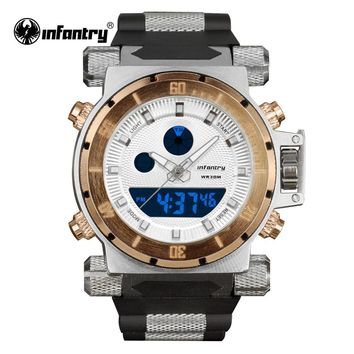 Luxury Brand INFANTRY Golden Watches Men Big Dial Quartz LED Digital Rubber Clock Sports Army Military Watches Relogio Masculino
