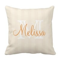 Stripes in Tan and Beige colors with Name Pillow
