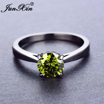 JUNXIN OL Design Men Women's Finger Ring Peridot Round CZ Ring Vintage Black Gold Wedding Rings High Quality Fashion Jewelry