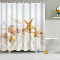 Sea Star Beach Printing Shower Curtain 100% Polyester Fabric Waterproof Mildewproof Bath Curtains With 12 Hooks Bathroom Product
