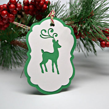 Reindeer Christmas Tag Green and White Tags Set of 8