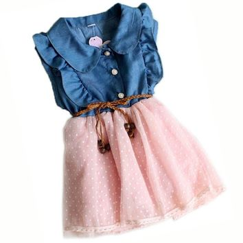Baby Girls Child Princess Party Kid Summer Denim Jeans Dress Skirt
