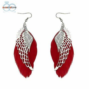 ICIKFS2 SUSENSTONE Angel Metal Wing Bohemian Handmade Vintage Feather Long Drop Earrings