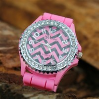 Chevron Sparkle Watch - Pink & Black