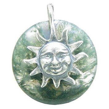 Positive Energy Happy Sun Good Luck Amulet Lucky Donut Green Moss Agate Sterling Silver Pendant