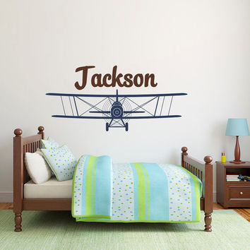 Airplane Wall Decal- Boys Name Wall Decals- Airplane Name Wall Decal- Boys Nursery Wall Decals- Airplane Nursery Kids Boys Room Decor 007