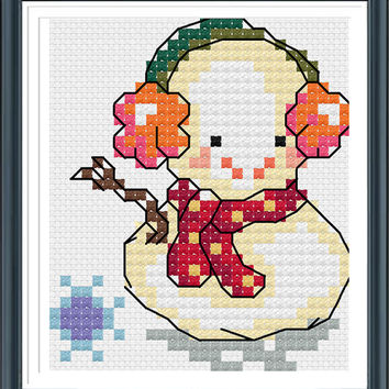 The Snowman,Counted Cross Stitch Patterns,Needlepoint Patterns