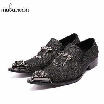 Mabaiwan New Metal Pionted Toe Men Shoes Loafers Office Dress Shoes Slip On Casual Shoes Men Flats Creepers Espadrilles Size 46