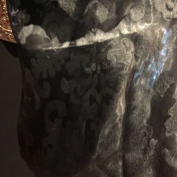 Vitage Styled Sheer Dark Gray brocade wrap Shawl