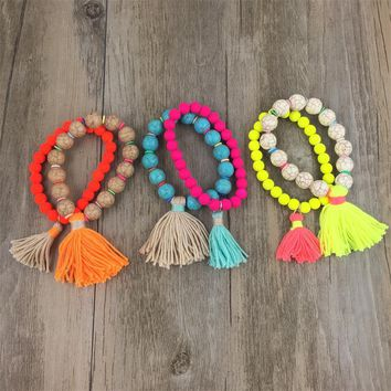Fashion Jewelry  Candy Color Multilayer Beads Bracelet with Tassels Handmade Bohemian Style pulseira bracelets for women