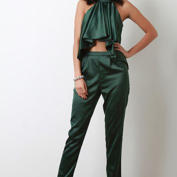 Satin Crepe Ruffle Halter Top with Matching Pants Set