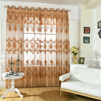 Floral Door Room Window Tulle Voile Curtain Drape Panel Sheer Scarf Valances
