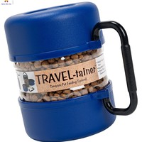 DOG Pet Food Travel-Tainer Kit Blue free food and water bowls Great For Travel