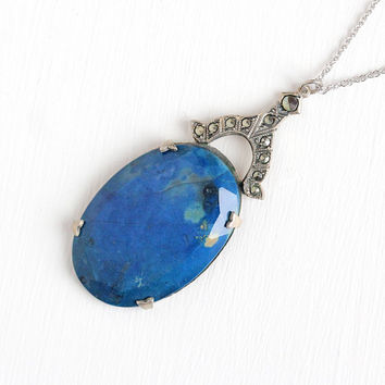 Vintage Sterling Silver Blue Jasper & Marcasite Pendant Necklace - 1920s Art Deco Huge Genuine Dark Blue Gem Marcasite Statement 20s Jewelry