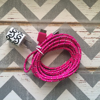 New Super Cute White & Black Scroll Designed USB Wall Connector + 10ft Hot Pink Braided Samsung Galaxy S5 Cable Cord