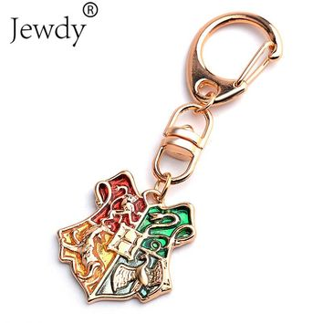 Potter Hogwarts Gryffindor Hufflepuff Ravenclaw Slytherin Logo Metal Keychains Pendant Key Chain Key Ring 2017 NEW H P Jewelry