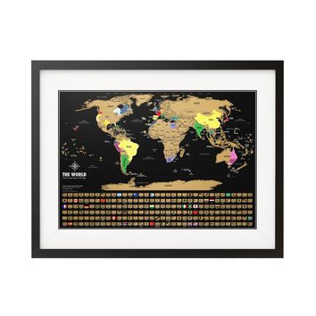 Scratch off world map - Black & Gold World Travel Tracker Map ®