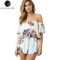 Lily Rosie Girl Women 2017 Off Shoulder Boho Style Floral Summer Romper Sexy Party Combinaison Femme Playsuits Overalls