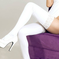 2016 Sexy Women's Skinny Faux Leather Shiny Wet Look Leggings Pants Lace Stay-Up H34