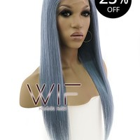 """20"""" Long Straight Dark Grey Blue Lace Front Remy Human Hair Wig HH069 (FREE SHIPPING)"""