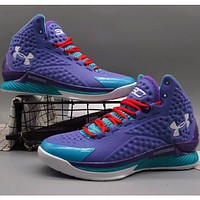 Under Armour UA CURRY Curry 1 spring new men's non-slip high basketball shock absorber boots sneakers F-A36H-MY Purple