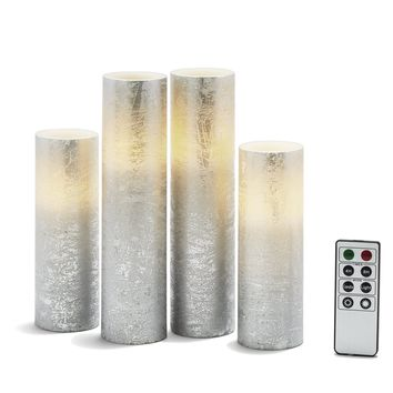 4 Silver Slim Flameless Pillar Candles with Warm White LEDs, Textured Finish, Batteries & Remote Included