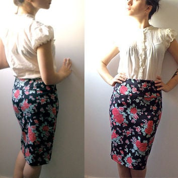 Gypsy flower print pencil skirt