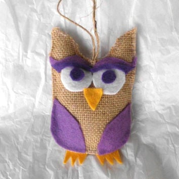 Burlap Owl Ornament, Rustic, Purple Lavender, Natural, Christmas Decoration, Beige, Brown, Shabby Chic, Primitive, Country decor, owl lover