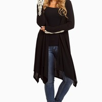 Black-Crochet-Cuff-Open-Long-Cardigan