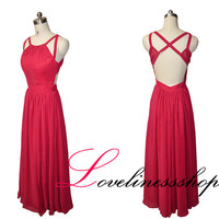 Sexy burgundy backless long prom dress,A line floor length evening prom dress,chiffon party dress,formal evening gowns