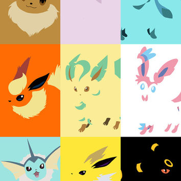 Eevee evolutions square- Eeeveelutions PKMN Art Print by Rebekhaart