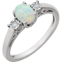 14kt White Gold Created Opal & .04 CTW Diamond Ring