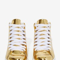 JC Play by Jeffrey Campbell Player High-Top Sneaker - Gold Mirror