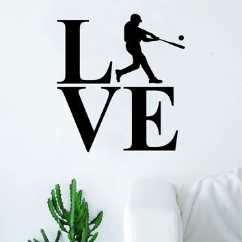 Love Baseball Silhouette Sports Decal Sticker Wall Vinyl Art Home Decor Teen Nursery