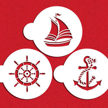 Sailor's Delight Stencil Set for Cookies, Cupcakes & Cakes - Designer Stencils (C895) Sailing, Boating, Nautical, Boat, Anchor, Ship Wheel