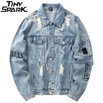 Trendy Mens Denim Bomber Jackets Ripped Holes Vintage Gothic Letter Embroidery Short Jacket Jeans Distressed Streetwear Hip Hop 2018 AT_94_13