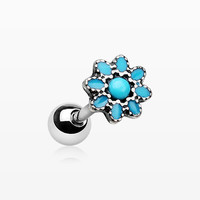 Antique Turquoise Flower Cartilage Tragus Earring