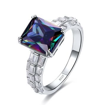 Merthus 4.5ct Mystic Rainbow Topaz Gemstone Promise Engagement Ring 925 Sterling Silver